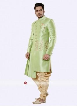 Marvelous Pista Green Silk Indo Western