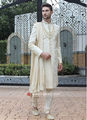Marvelous Cream Resham Work Sherwani With Dupatta