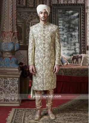 Marvelous Cream Silk Sherwani For Wedding