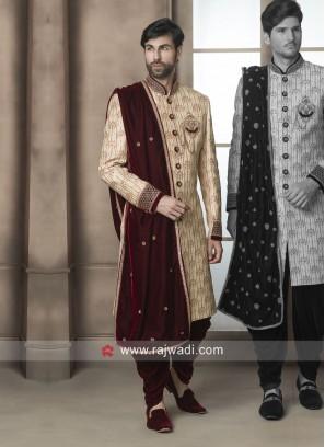 Marvelous Golden Color Sherwani With Velvet Dupatta