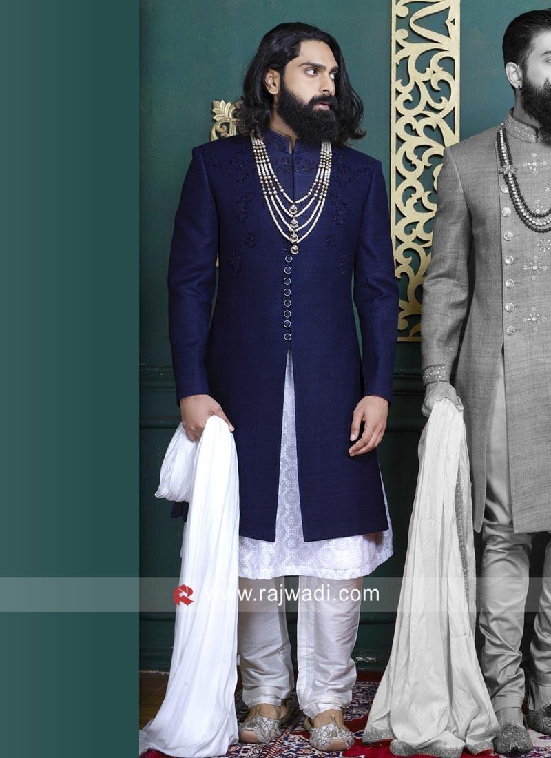 Marvelous Royal Blue Art Silk Indo Western