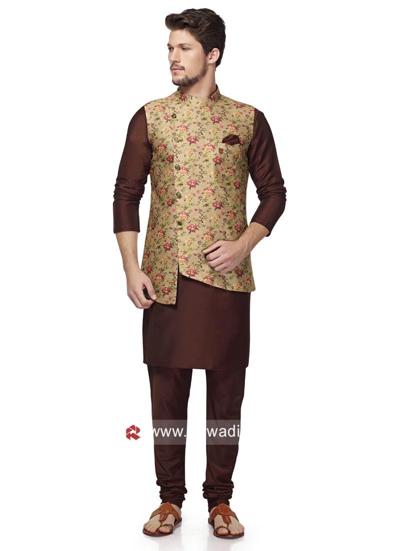 Marvelous Brocade Silk Nehru Jacket