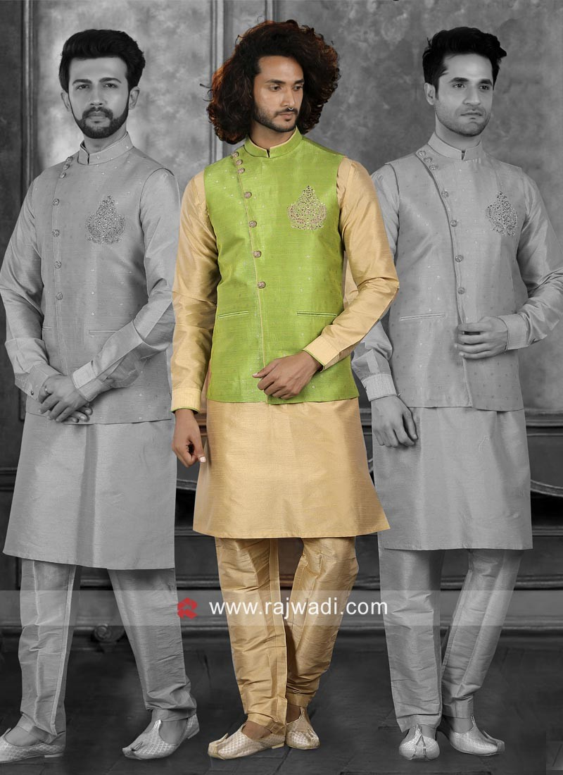 Marvelous Parrot Green and Golden Color Nehru Jacket