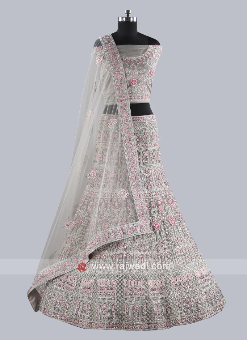 Marvelous Grey Net Fabric Lehenga