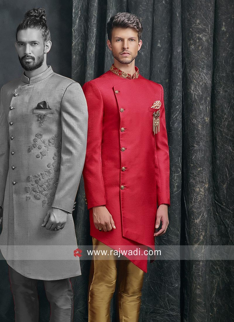 Asymmetric Red Indo Western Outfit