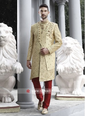 Marvelous Golden Sherwani For Wedding