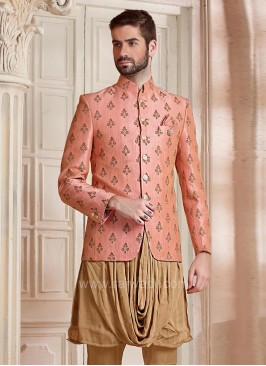 Marvelous Indo Western in Peach Color