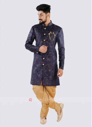 Marvelous Navy And Golden Indo Western