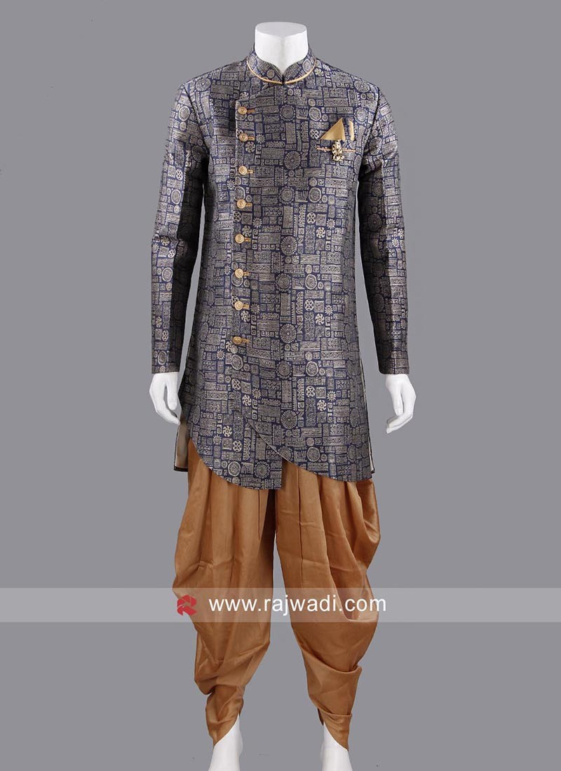 Marvelous Navy Color Indo Western With Fancy Broach