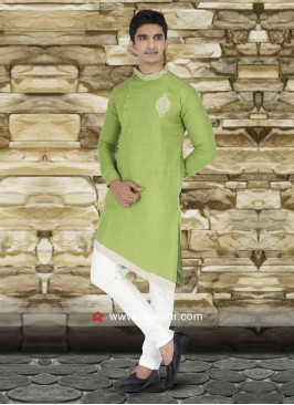 Marvelous Parrot Green Color Kurta Set