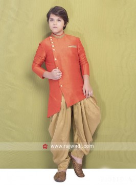 Marvelous Raw Silk Indo Western For Kids
