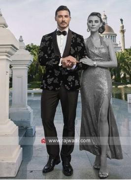 Marvelous Velvet Fabric Black Color Suit