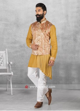 Marvelous Yellow Layered Nehru Jacket