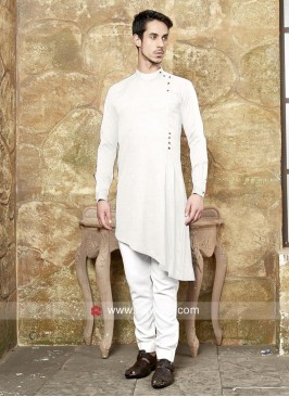 Marvelous White Layered Pathani Suit
