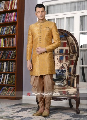 Marvelous Yellow Indo western For Wedding