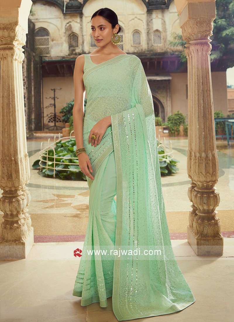 Masterly Georgette Green Classic Saree