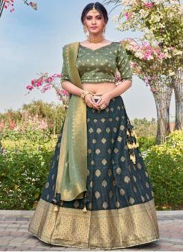 Masterly Weaving Silk Teal Bollywood Lehenga Choli