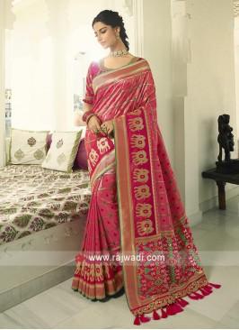 Gajari pink Banasari silk saree.