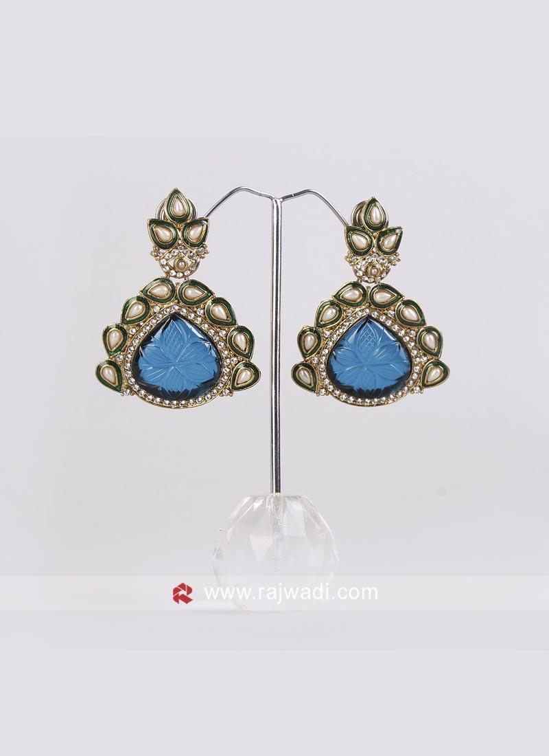 Medium Blue Designer Earrings