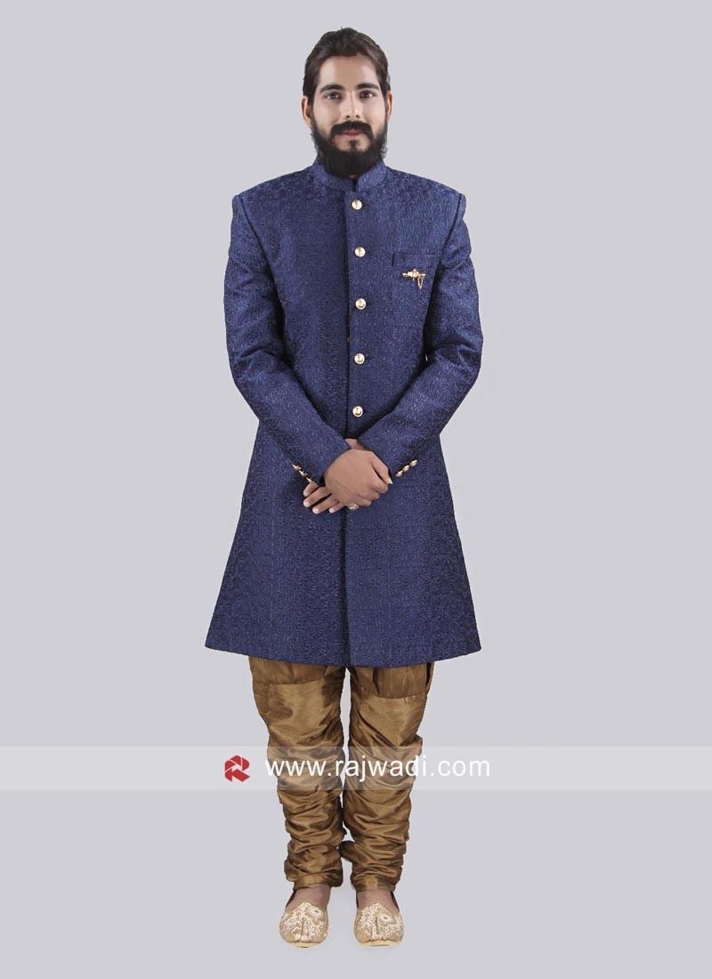 Medium Blue Emboss Fabric Party Wear Indo Western