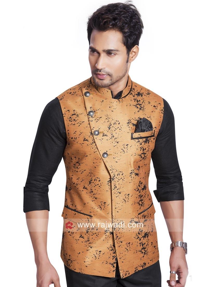 Orange Cotton Silk Koti With Stylish Buttons