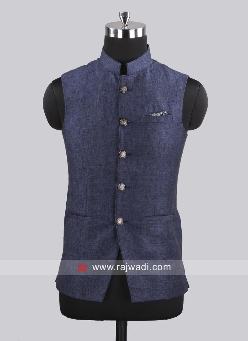 Medium Blue Imported Koti With Stylish Buttons