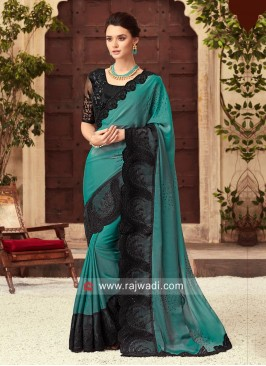 Medium Turquoise Saree with Black Border