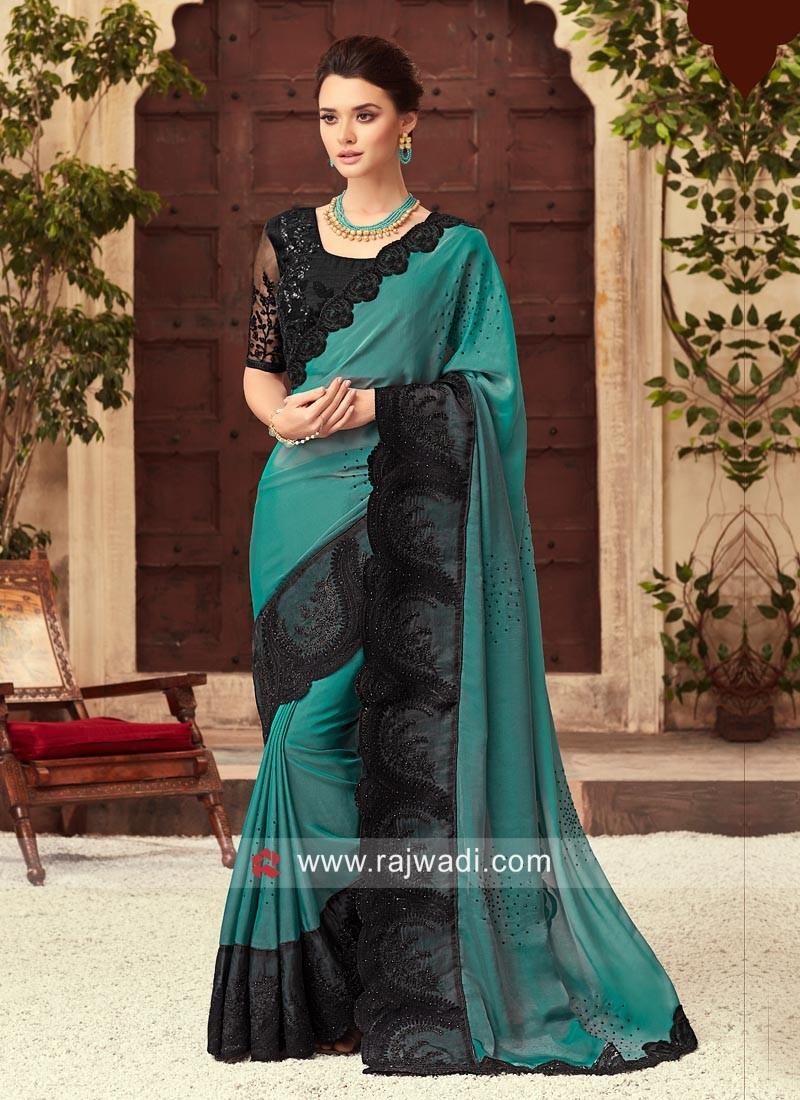 Medium Turquoise Saree with Black Border