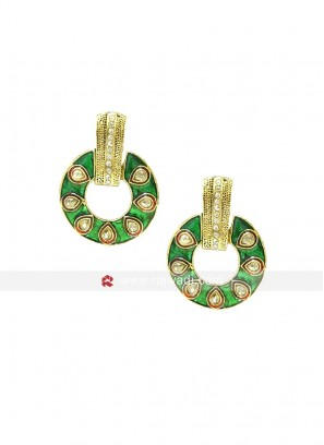 Meenakari Green Bali Dangler Earrings