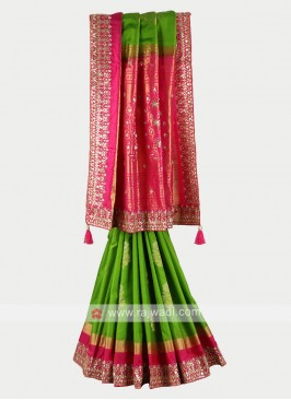 Mehandi green and rani color pure silk saree