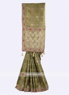 Mehendi green color banarasi silk saree