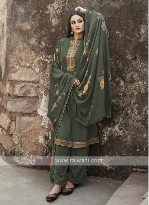 Mehandi Green Color Embroidery Suit