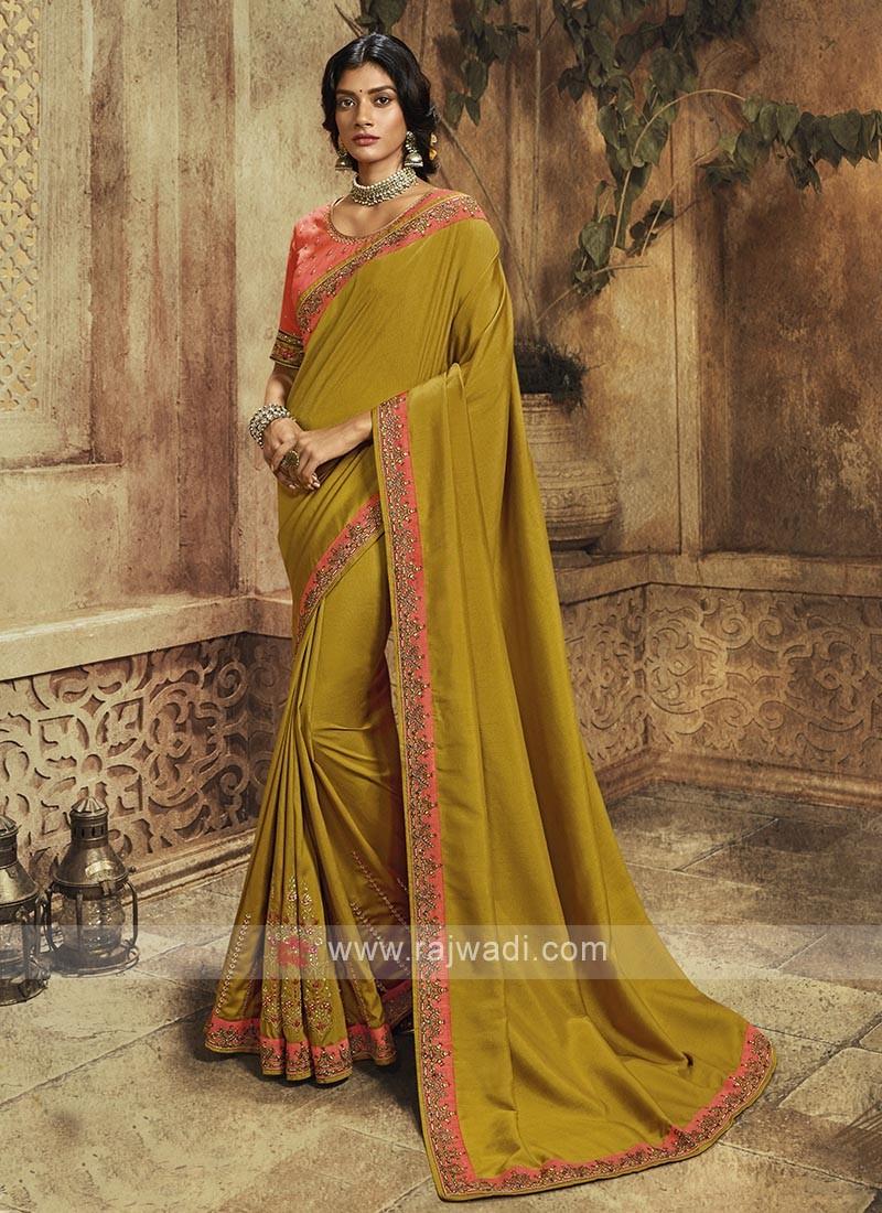 Mehndi Green Color Silk Saree