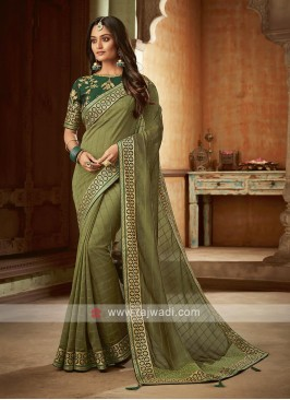 Mehndi Green Silk Saree
