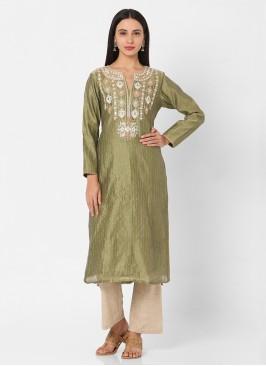 Mehndi And Beige Embroidery Pant Style Kurti Set