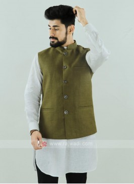 Mehndi Color Nehru Jacket
