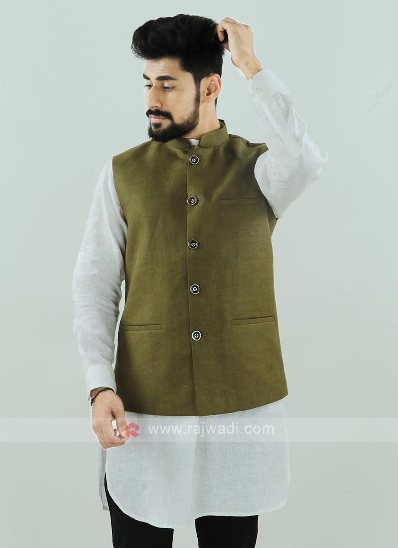 Mehndi Color Nehru Jacket