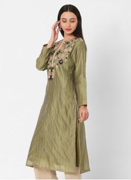 Mehndi Green and Black Pant Style Kurti Set