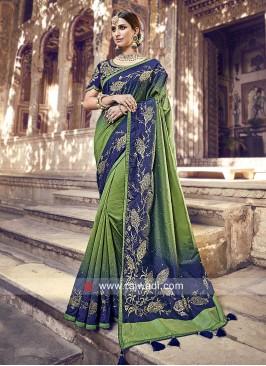 Mehndi Green and Blue Shaded Saree