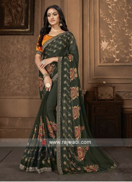 Mehndi Green And Orange Saree