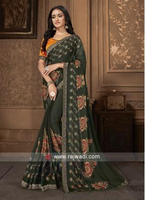 Mehndi Green And Orange Saree