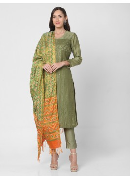 Mehndi Green Color Pant Style Suit