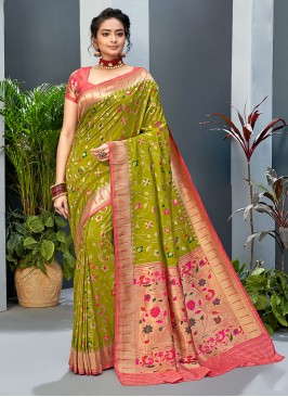 Mehndi Green And Peach Color Banarasi Silk
