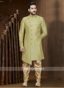 Mehndi Green Art Silk Patiala Suit