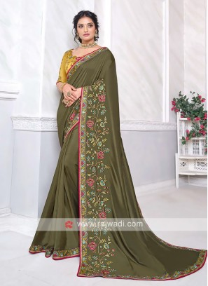 Mehndi Green Art Silk Saree