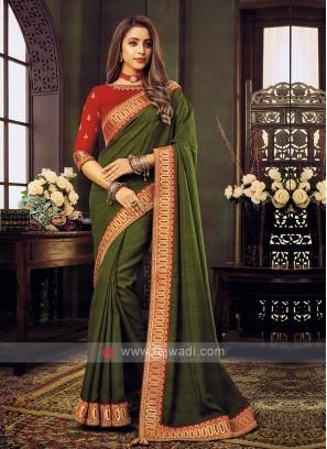 Mehndi Green Art Silk Saree