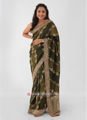 Mehndi Green Banarasi Silk Saree