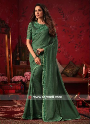 Mehndi Green Border Work Saree