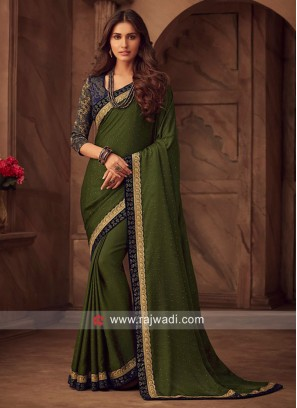 Mehndi Green Border Work Saree with Blouse
