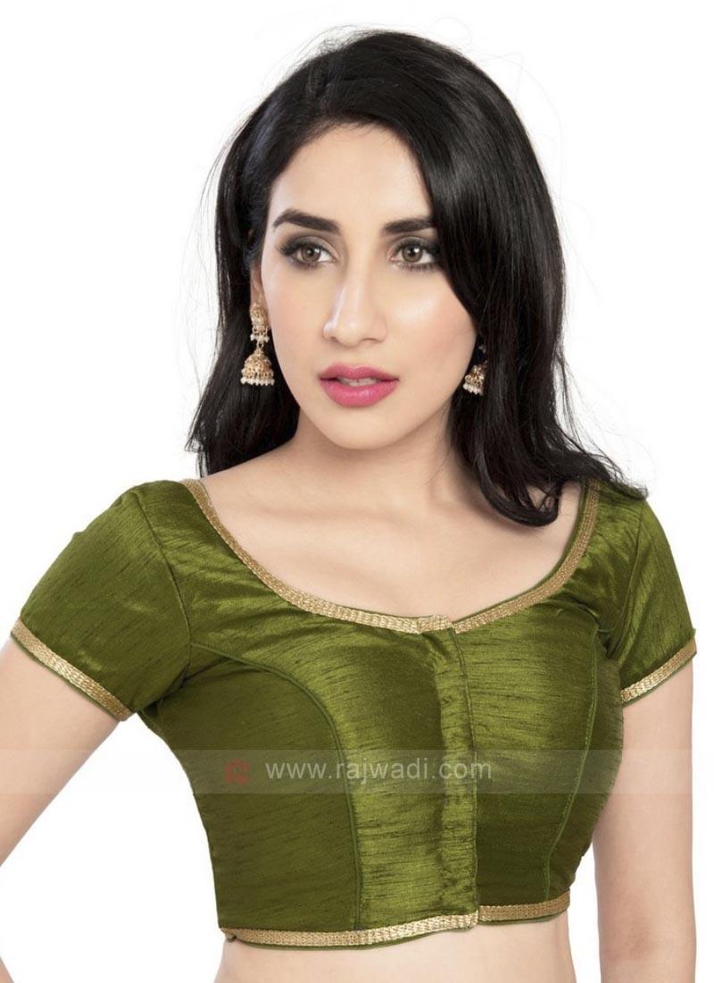 Mehndi Green Brocade Ready Blouse